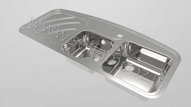 طراحی سینک دوقلو در کتیا