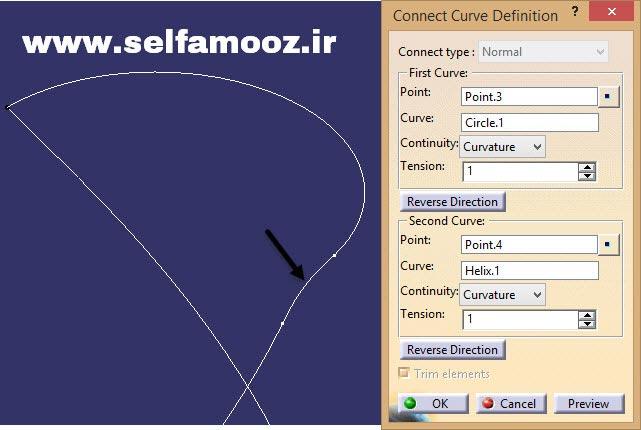 دستور Connect Curve و پنجره Connect Curve Definition