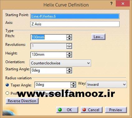 دستور Helix و پنجره Helix Definition